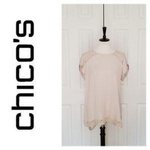 Chico's Off-White/Gray Top - Size 2 - EUC!!